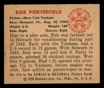 1950 Bowman #216 CPR Bob Porterfield  Back Thumbnail