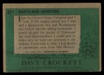 1956 Topps Davy Crockett #41 GRN  Davy's New Adventure  Back Thumbnail