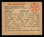 1950 Bowman #226  Jim Konstanty  Back Thumbnail