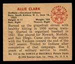 1950 Bowman #233 CPR Allie Clark  Back Thumbnail