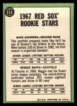 1967 Topps #314   -  Reggie Smith / Mike Andrews Red Sox Rookies Back Thumbnail