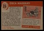 1954 Topps World on Wheels #15   Osca Maserati Back Thumbnail
