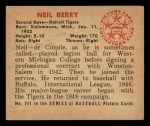 1950 Bowman #241  Neil Berry  Back Thumbnail
