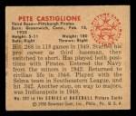 1950 Bowman #201  Pete Castiglione  Back Thumbnail
