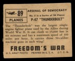 1950 Topps Freedoms War #89   P-47 Thunderbolt   Back Thumbnail
