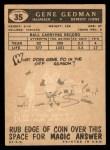 1959 Topps #35  Gene Gedman  Back Thumbnail
