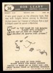 1959 Topps CFL #36  Bob Leary  Back Thumbnail