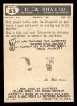 1959 Topps CFL #63  Dick Shatto  Back Thumbnail