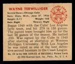 1950 Bowman #114  Wayne Terwilliger  Back Thumbnail