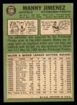 1967 Topps #586  Manny Jimenez  Back Thumbnail