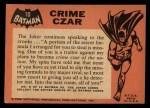 1966 Topps Batman Black Bat #10 BLK  Crime Czar Back Thumbnail