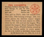 1950 Bowman #195  Phil Cavarretta  Back Thumbnail