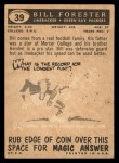 1959 Topps #39  Bill Forester  Back Thumbnail