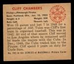 1950 Bowman #202  Cliff Chambers  Back Thumbnail