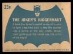 1966 Topps Batman Blue Bat Back #23 BLU  The Joker's Juggernaut Back Thumbnail