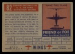 1952 Topps Wings #82   Convair 240 Back Thumbnail