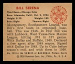 1950 Bowman #230  Bill Serena  Back Thumbnail