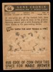 1959 Topps #66  Gene Cronin  Back Thumbnail