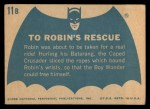 1966 Topps Batman Blue Bat Back #11 BLU  To Robin's Rescue Back Thumbnail