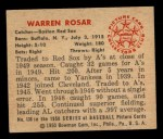 1950 Bowman #136  Warren Rosar  Back Thumbnail