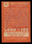 1952 Topps Look 'N See #111  Florence Nightingale  Back Thumbnail