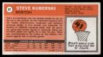 1970 Topps #67  Steve Kuberski   Back Thumbnail