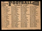 1959 Topps #17   Colts Team Checklist Back Thumbnail