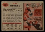1957 Topps #101  Elbert Nickel  Back Thumbnail