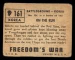 1950 Topps Freedoms War #161   On the Run  Back Thumbnail