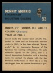 1962 Fleer #53  Dennit Morris  Back Thumbnail