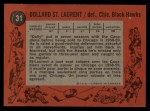 1961 Topps #31  Dollard St.Laurent  Back Thumbnail
