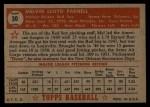 1952 Topps #30 RED Mel Parnell  Back Thumbnail