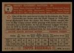 1952 Topps #6 RED Grady Hatton  Back Thumbnail