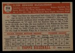 1952 Topps #218  Clyde McCullough  Back Thumbnail