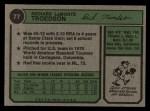 1974 Topps #77 WAS Rich Troedson  Back Thumbnail