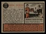 1962 Topps #275  Norm Siebern  Back Thumbnail