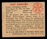 1950 Bowman #68  Curt Simmons  Back Thumbnail