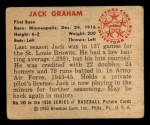 1950 Bowman #145  Jack Graham  Back Thumbnail