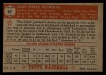1952 Topps #67  Allie Reynolds  Back Thumbnail