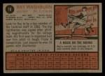 1962 Topps #19  Ray Washburn  Back Thumbnail