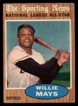 1962 Topps #395   -  Willie Mays All-Star Front Thumbnail