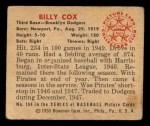 1950 Bowman #194  Billy Cox  Back Thumbnail