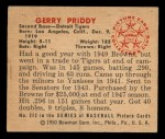 1950 Bowman #212 CPR Jerry Priddy  Back Thumbnail