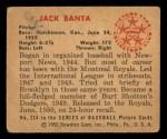 1950 Bowman #224 CPR Jack Banta  Back Thumbnail