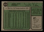 1974 Topps #316  Jim Perry  Back Thumbnail