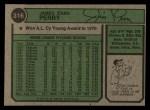 1974 Topps #316  Jim Perry  Back Thumbnail