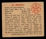 1950 Bowman #126  Al Brazle  Back Thumbnail