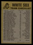 1974 Topps Red Checklist   White Sox Red Team Checklist Back Thumbnail