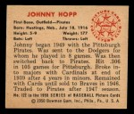 1950 Bowman #122  Johnny Hopp  Back Thumbnail
