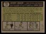 1961 Topps #71  Jerry Adair  Back Thumbnail